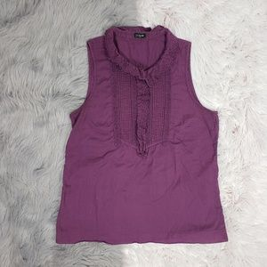 J. CREW Purple Eylet Ruffle Collar Placket Tank